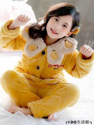 VR小鋪✿ 女童睡衣冬季加厚加絨款中大童兒童寶寶甜美公主法蘭絨夾棉保暖家居服K312G