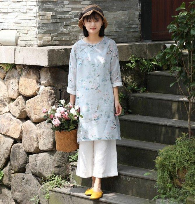 【子芸芳】原創清透高級印花苧麻 復古長款上衣寬鬆大碼連衣裙長衫