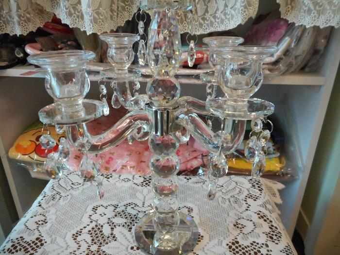 ~~凡爾賽生活精品~~全新水晶串珠造型五座式大燭臺