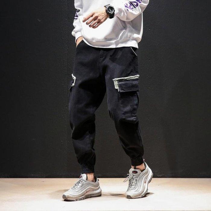 工裝褲休閒褲 男士加肥大尺碼胖寬鬆束腳褲韓版潮流男褲子