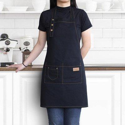 圍裙棉麻奶茶咖啡店烘焙美甲定製印字時尚男女工作服亞麻工作圍裙