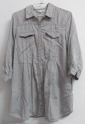 韓系美女專屬復古感大推灰條紋襯衫