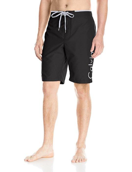 美國百分百【Calvin Klein】短褲 CK 休閒褲 海灘褲 泳褲 沙灘褲 衝浪褲 黑色 男 L號 I257
