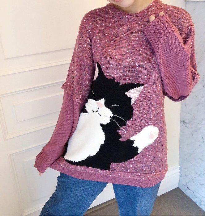 日本卡拉貓~Kuro嗨嗨質感拼接毛衣