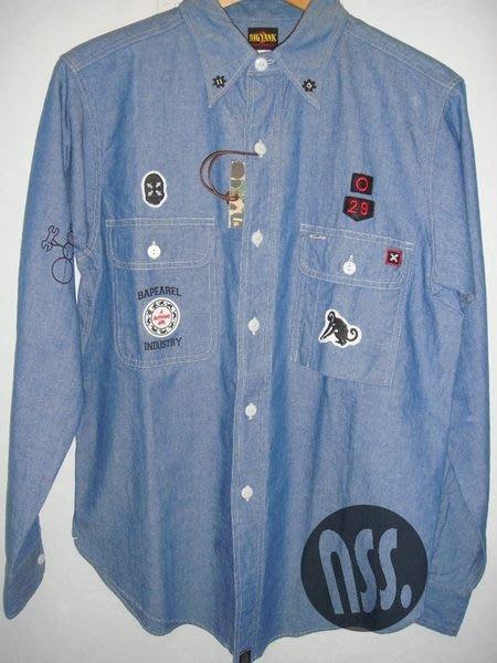 特價【NSS】A BATHING APE BAPE BIGYANK  CHAMBRAY WORK 貼布 長袖襯衫 藍M