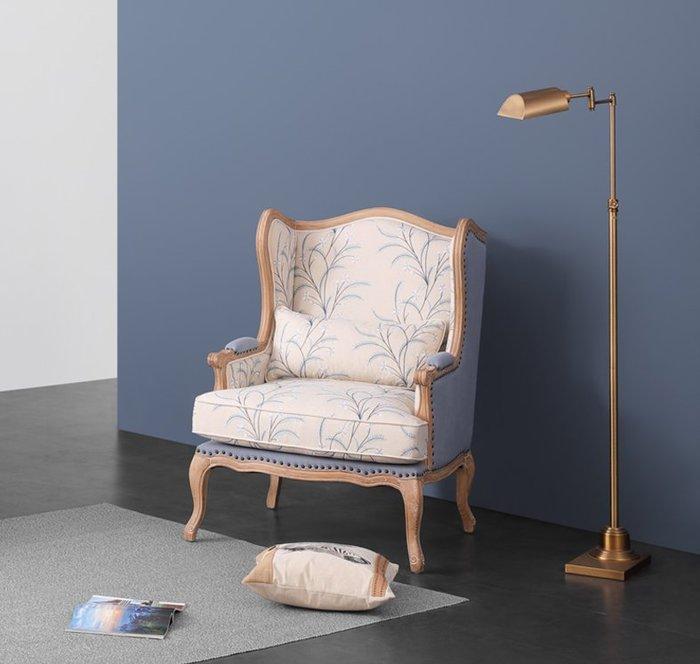 KatCo美式復古實木休閑沙發 北歐棉麻繡花羽絨靠背臥室單人老虎椅