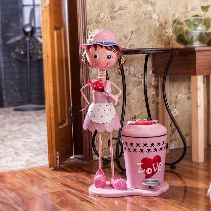 粉紅玫瑰精品屋~歐式可愛卡通鐵藝脚踏垃圾桶~粉色Love