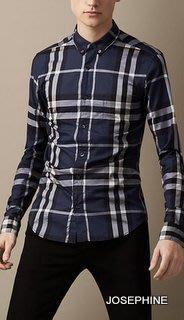 喬瑟芬【BURBERRY】7折特價$9100含運~2014秋冬經典藍色格紋棉質襯衫