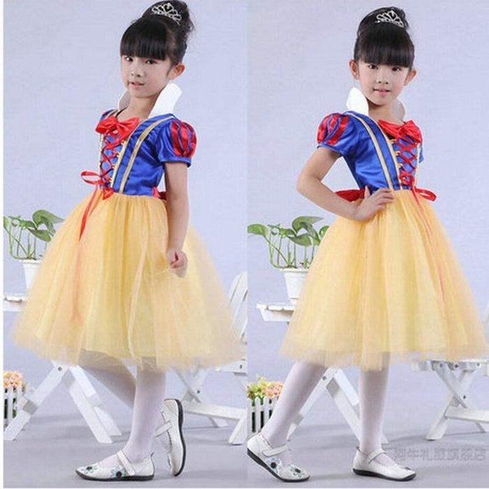 艾莉小舖  兒童節 萬聖節 聖誕節 白雪公主裙表演服裝 公主服 演出服禮服 (有髮圈)