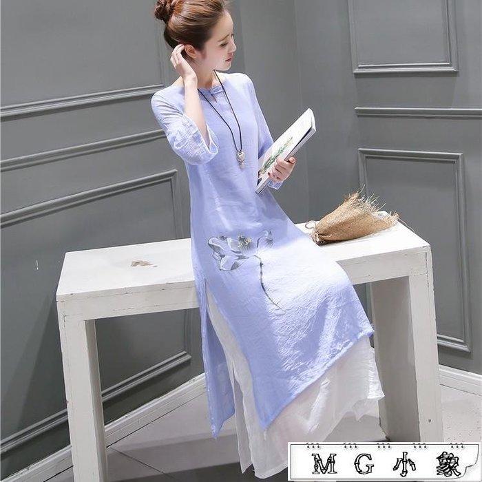 旗袍  文藝改良日常中長款棉麻旗袍