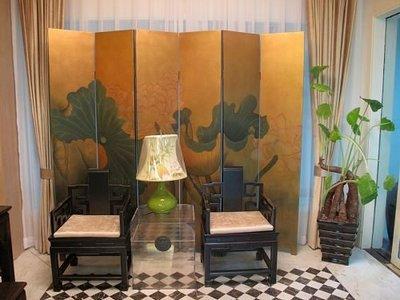 【芮洛蔓 La Romance】東情西韻系列手繪絹絲屏風 雅荷風情