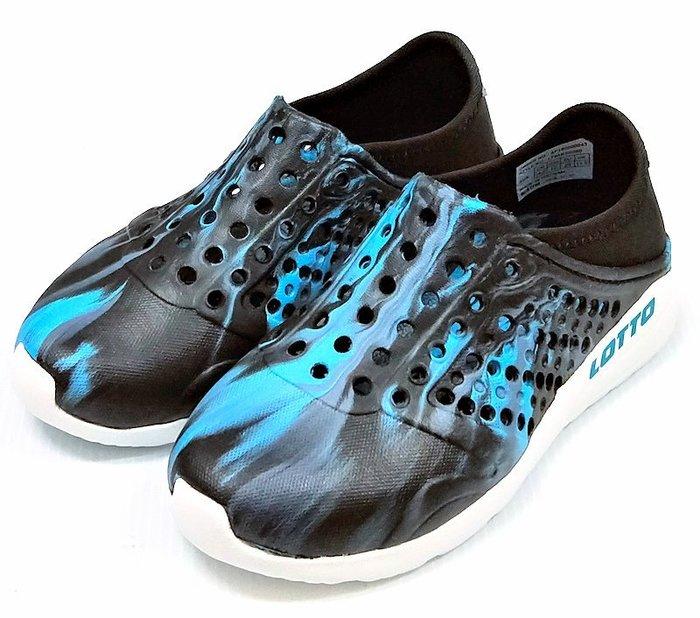【菲瑪】LOTTO 透氣排水 潮流洞洞鞋 可後踩 童款 迷彩黑藍LT9AKS0380