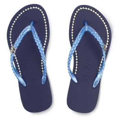 QWQ繽紛夾腳拖 施華洛世奇水鑽 超值款拖鞋 面鑽款 寶石藍 免運- 阿法.伊恩納斯 百貨專櫃同步 比基尼穿搭