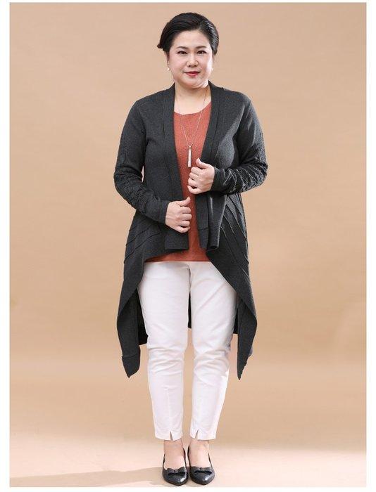 9DA75 黑色中長款前短後長毛衣均碼60-100公斤秋冬婆婆裝媽媽裝風衣女裝外套大尺碼大碼超大尺碼