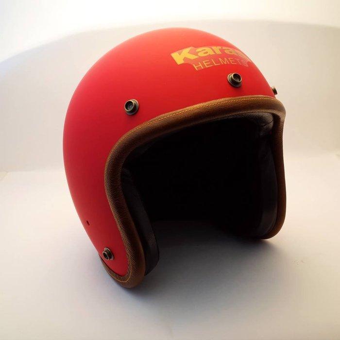 (I LOVE樂多)卡拉斯 KARAS K-1 啞光紅 4/3復古質感安全帽(牛皮邊條+小羊皮.黑麂皮內裝)