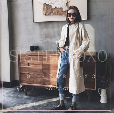 Sisterxoxo KOREA style 韓國單 優雅氣質米色 簡約長大衣 法式浪漫風衣 收腰設計 顯瘦過膝外套