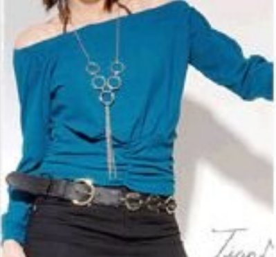 藍色短版長袖上衣