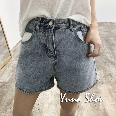 ☆YUNA SHOP☆韓國單【M-5133】個性撞色拼接設計修身顯瘦牛仔褲短褲☆藍色XL 現貨賠本出清