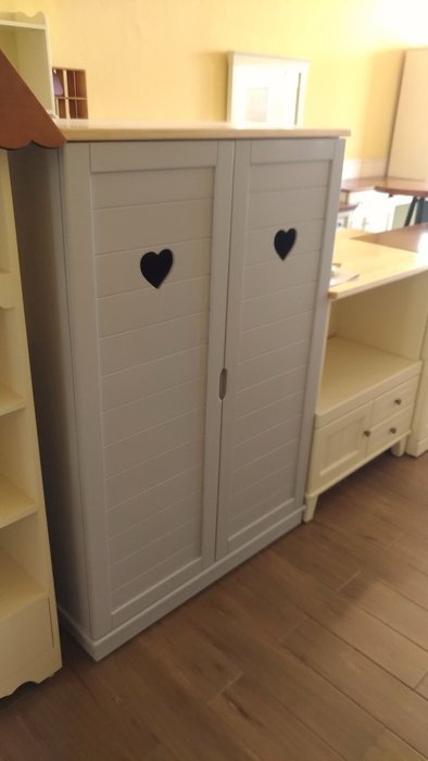 戀戀小木屋 愛心 淺灰色收納櫃 書櫃  原木書櫃