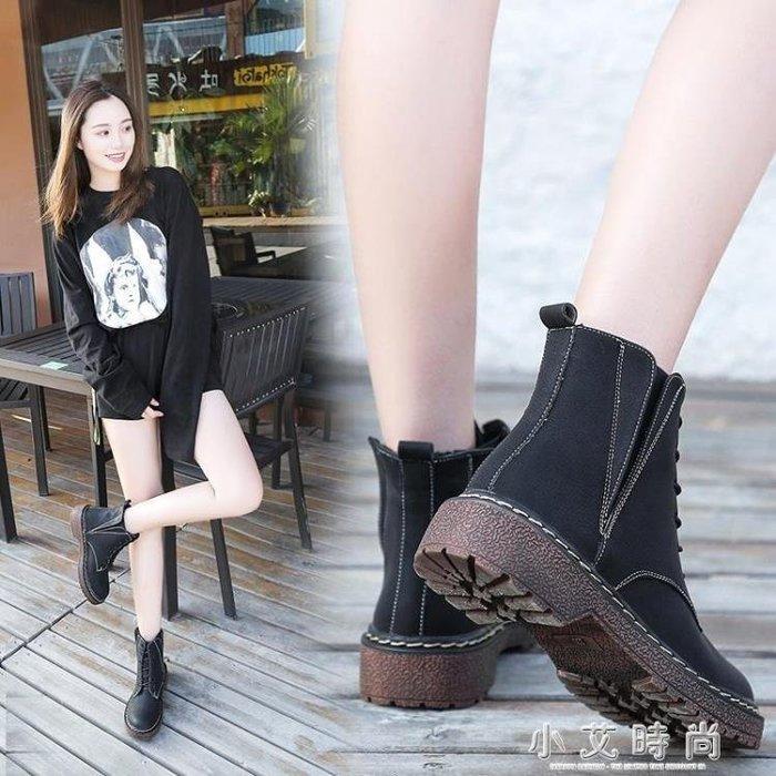 YEAHSHOP 英倫風繫帶平底棉靴子短靴復古短Y185