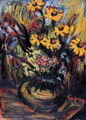 [客人寄賣] 鹽月桃甫 瓶花 33X24cm 4號 1934 油畫