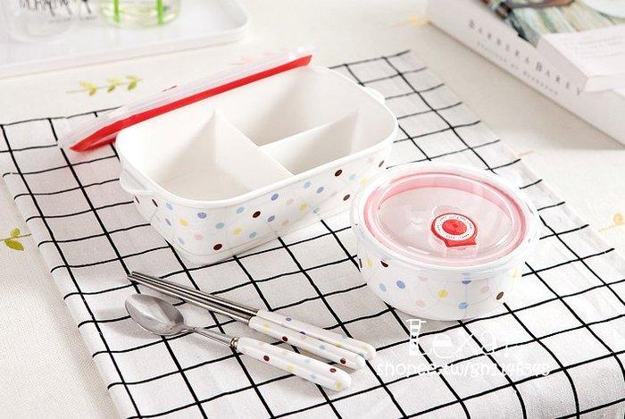 帶蓋三分格陶瓷飯盒微波爐專用長方形分隔便當盒密封碗保鮮盒餐盒