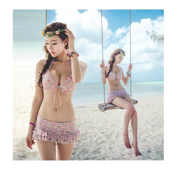 5Cgo【鴿樓】會員有優惠  14648679688 比基尼女韓國溫泉泳衣女式小胸聚攏鋼托分體裙式兩件套BIKINI 比