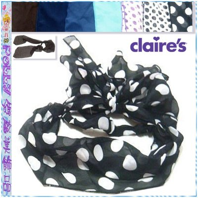 ☆POLLY媽☆日本claire`s Tailed Headwrap縐紗蝴蝶結綁帶式寬版髮帶~7款