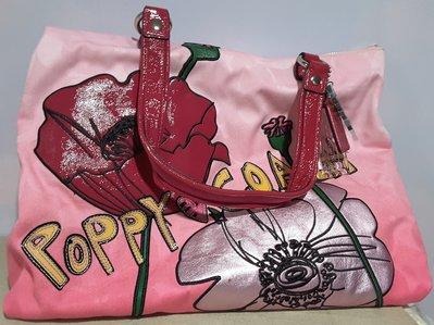 全新】㊣Coach Poppy花朵漸層雙面大C Logo亮眼桃紅色織布托特包/手提包/肩背包 超大容量/僅此一組