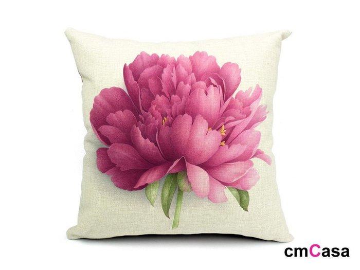 = cmCasa = [4082]春漾詩意設計 夏日豔紅花組抱枕套 浪漫多款新發行