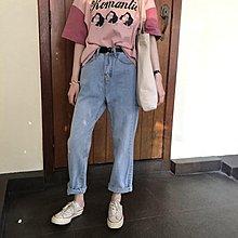 袁先生の家 版型JU好搭的高腰顯瘦水洗做舊牛仔褲 撕邊流蘇長褲女春韓版