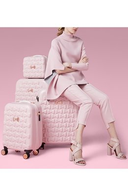 Ariels Wish-英國代購TED BAKER粉紅色蝴蝶結浮雕登機箱硬殼行李箱旅行箱子倫敦限定版登機箱現貨絕版品一個