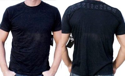Affliction 短袖 T 恤 黑色 刺繡縫布 刺青潮牌 手工製作  格鬥 L XL 【 以靡專櫃正品】