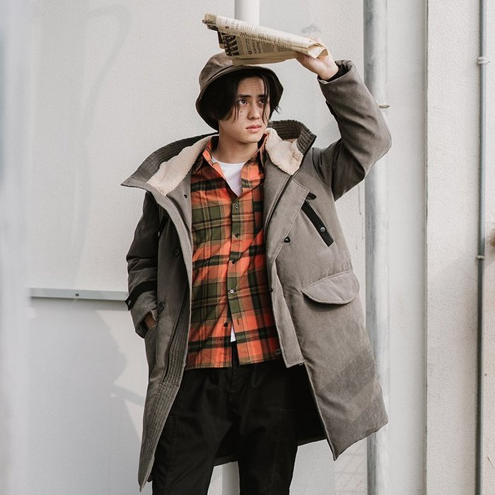 『潮范』 WS11 新款中長款日系寬鬆版羽絨服 棉質連帽外套 鋪棉外套 防寒外套NRG2610