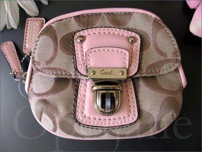 官網真品全新 Coach Coin 粉紅色或單寧色拉鍊零錢包手拿包內有夾層袋可放信用卡悠遊 免運費 愛Coach包包