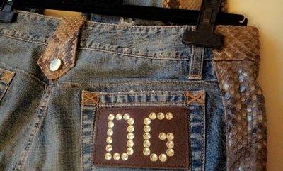 全球限量Dolce & Gabbana 施華洛世奇水晶+蟒蛇皮拼接牛仔褲