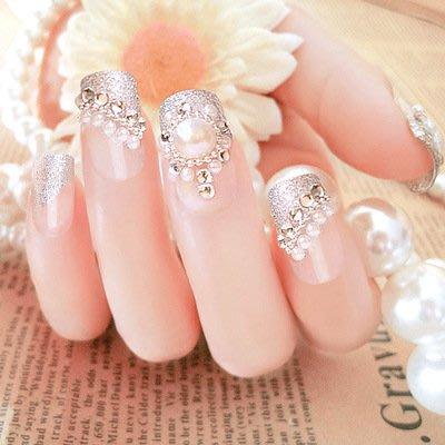美甲成品 24片盒裝 假指甲成品 貼片 法式珍珠新娘 美甲貼片 C20