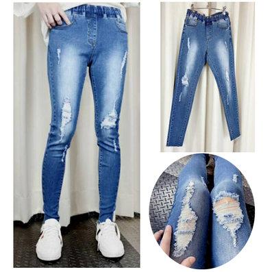 現貨《XL.2L.3L.4L.5L》中腰3386彈性刮破造型牛仔褲長褲/大尺碼牛仔褲【時尚Tina】鑽石比例