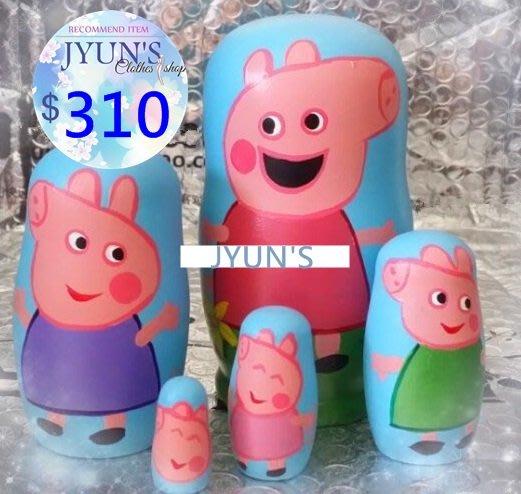 套件 手工木製小猪佩奇木頭俄羅斯套娃娃擺件兒童玩具5層生日禮物禮品情人節1色-JYUN'S 預購