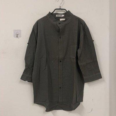 日系男士立領薄款純色帥氣百搭半袖七分袖襯衫(XL號/777-7674)