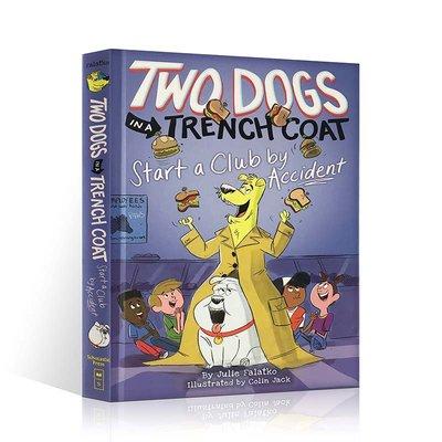 英文原版 逗趣漫畫 兩條穿風衣的狗 TWO DOGS IN A TRENCH COAT START A CLUB BY