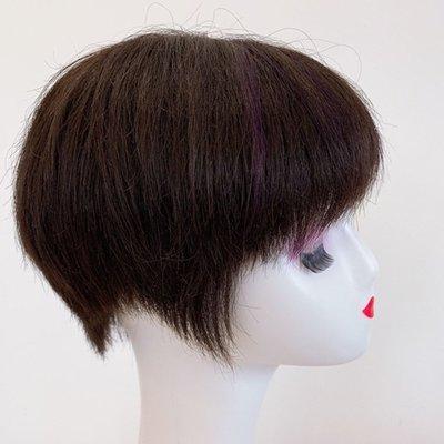 整頂假髮真髮絲短假髮-前額挑染直髮時尚女假髮2色73vr11[獨家進口][米蘭精品]