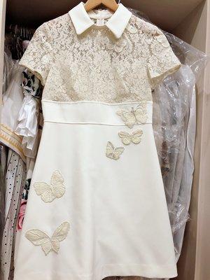 類Valentino款 蕾絲蝴蝶象牙白 洋裝
