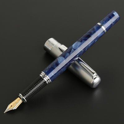 艾力客生活工坊☆000-252 英雄H631貓眼水波紋鋼筆 雙色筆尖 經典皮盒(貓眼藍-銀蓋)