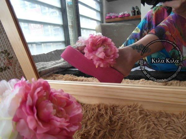♥kila kila♥促銷特價款純手工定製款拼色大花朵拼刺繡蕾絲夏日長洋必備夾腳人字拖鞋實拍