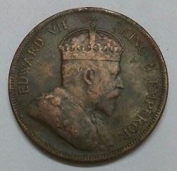 1908 年 英屬 海峽 殖民地 愛德華 七世 1 分 1 Cent 原光 美品 大型 古銅 錢幣