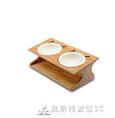 貓碗雙碗貓食盆貓盆狗碗陶瓷貓糧碗貓飯盆水碗貓碗架餐桌貓咪用品 YXS