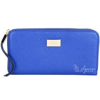米蘭廣場 TOD'S Leather Zip 金屬牌飾內花布拉鍊長夾(藍色) 1710249-23