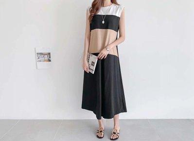 正韓時尚配色短袖洋裝