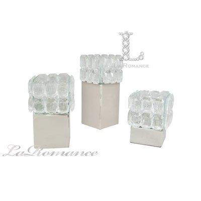 【芮洛蔓 La Romance】鋅合金水晶方形燭台 (共三尺寸) / 擺飾
